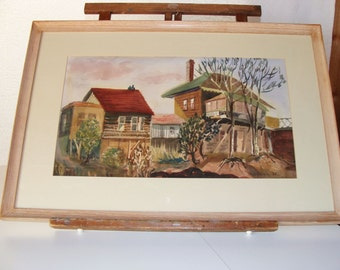 Vintage Folk Art ,Outsider Art, Watercolor painting two houses 1955 Kay Deil