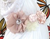 Maternity Sash: Girly pastel pink and ivory satin and lace maternity/baby sash