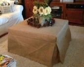 "Burlap Ottoman,  Piano Bench or Stool Slipcover 25"" to 48"" long side--Fully Lined"