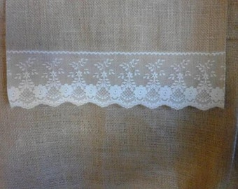 "Burlap Table Runner with Lace Shaped Ends- 60"" or 72"""