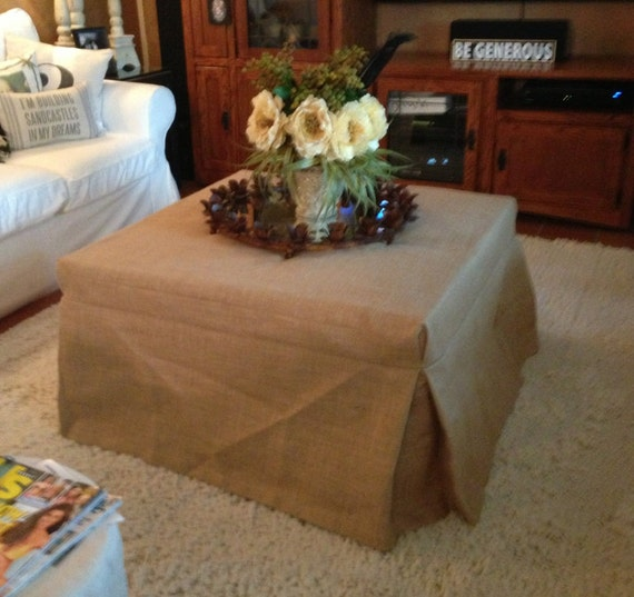 """Burlap Ottoman,  Piano Bench or Stool Slipcover 25"""" to 48"""" long side--Fully Lined"""