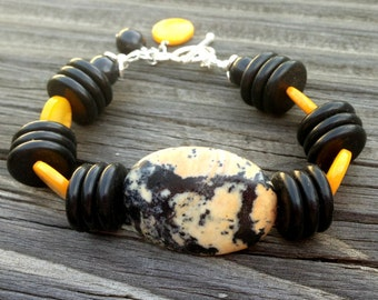 Black and Yellow Bracelet - Gemstone Jewelry - Sterling Silver Jewellery - Agate - Turquoise - Mother of Pearl - Unique - Funky - Chunky