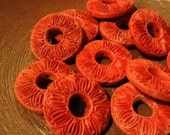 14pcs Cinnabar circle beads