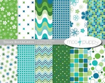 Digital Scrapbook Paper Pack  - Tegan Blue&Green -- INSTANT DOWNLOAD