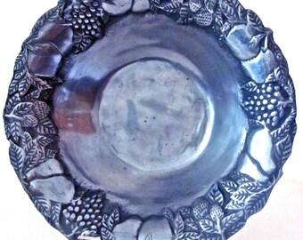 Large Pewter Bowl with Embossed Fruit Rim
