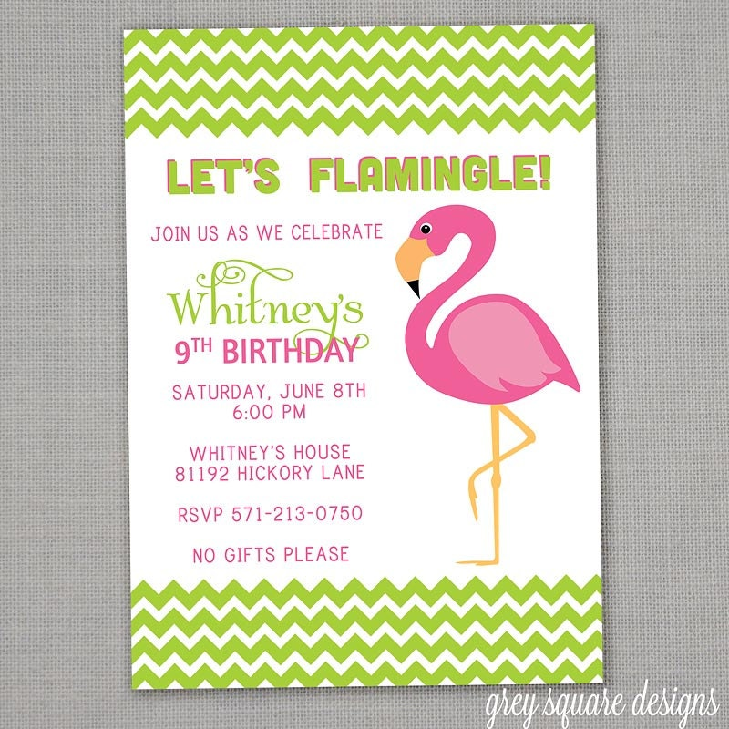 Chevron Flamingo Birthday Party Invitation – Flamingo Birthday Invitations