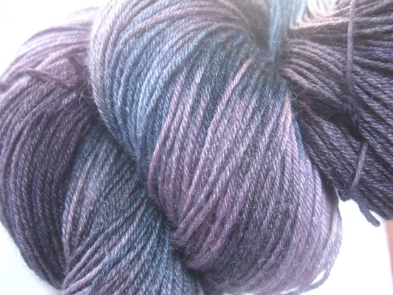 RESERVE listing for kshancock Hand Dyed Variegated Self Striping 4ply sock knitting crochet yarn - 'The Sky at Night'