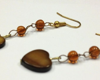 Earrings Brown Shell Heart Dangle. Earrings for Teens, Heart Earrings, Brown Earrings by CindyDidIt OOAK