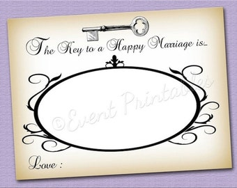Key to a Happy Marriage Advice Cards, Printable Vintage Wedding Wish Cards, DIGITAL FILE by Event Printables