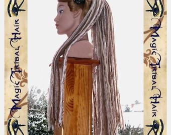 "DARK BLONDE DREADLOCKS yarn dread falls 112 dreads 60cm/ 24"" long Viking Renfaire hair piece Medieval hair extension Cosplay larp hair fall"
