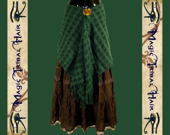 Emerald green ELF fairy pixie WRAP SKIRT & hip scarf Tribal Fusion belly dance Larp costume accessory Fantasy Woodland Goa