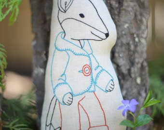 Felix Fox embroidered fox pattern - Stuffed Fox toy - Embroidered Fox pillow PDF, beginner embroidery pattern, DIY baby