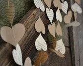 Paper Heart Garland from Vintage Book Pages and Kraft Paper, wedding garland, vintage wedding decor