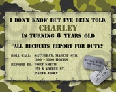 CAMO Birthday INVITATION or Baby Announcement - Printable Invite - Customizable - Military - Boys or Girls
