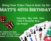 CASINO Printable INVITATION - Birthday, Bachelor or Casino Night Invite - Customizable - Las Vegas, Poker or Gaming diy