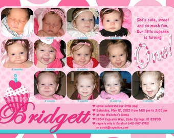 Cupcake First Birthday Invitations 12 Photos Pink White Teal Polka Dot Customizable Printable 5x7 or 4x6