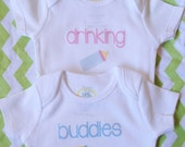 Drinking Buddies Twins Siblings Set  // Choose Font and Color // Short or Long Sleeve // Newborn to 5T // T-Shirt // Onesie®