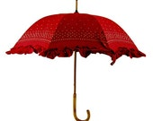 Red Ruffled Vintage Umbrella with Flowers and Berries