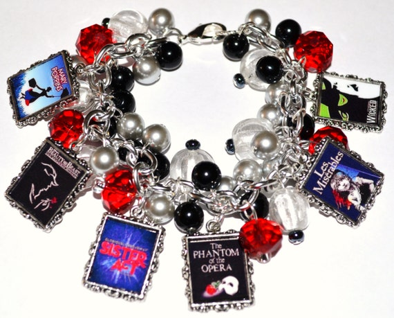 CUSTOM BROADWAY MUSICALS Charm Bracelet Altered Art Handmade Free2BDesigns Made to Order Wicked Les Miserables Phantom of the Opera