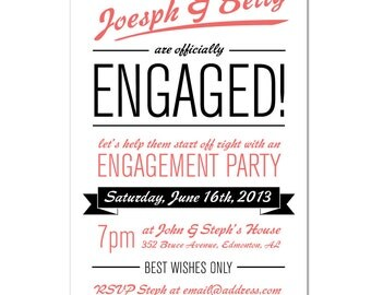 engagement party invitation - DIY printable file by YellowBrickStudio