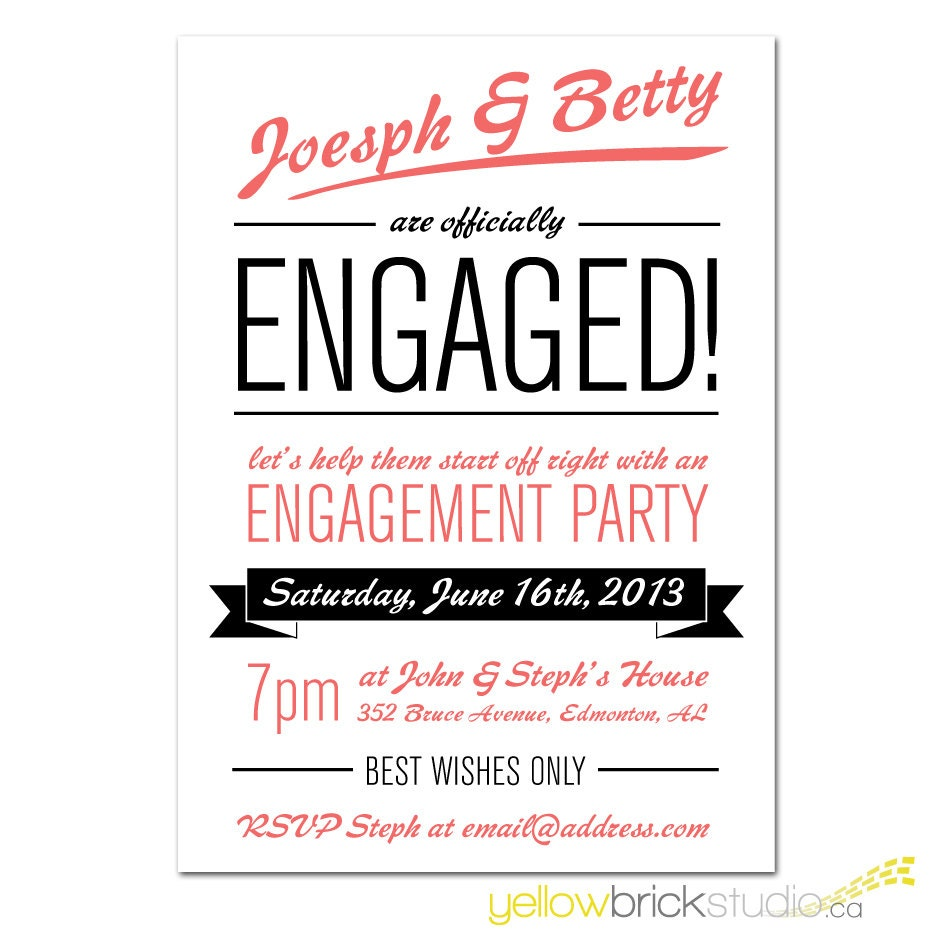 Engagement party invitation diy printable file by for Etsy engagement party invites