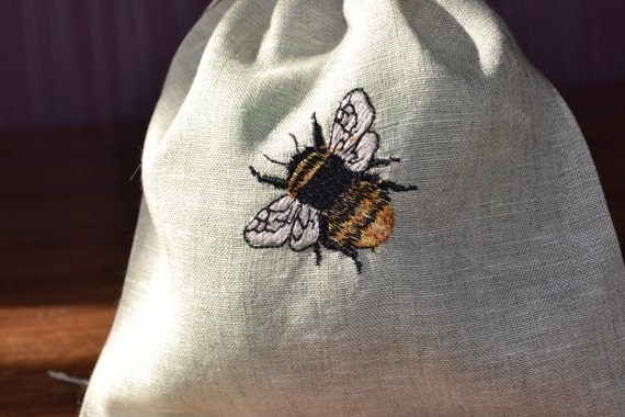 Linen bag pouch, with bee embroidery