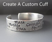 Custom Silver Mother's Cuff Bracelet / Personalized  Children's Names / Gifts for Mom & Grandmom / Gifts For Her / Anniversary Gifts