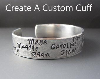 Custom Mother's Bracelet - Children's Names -   Silver Bracelet - Personalized Cuff Bracelet