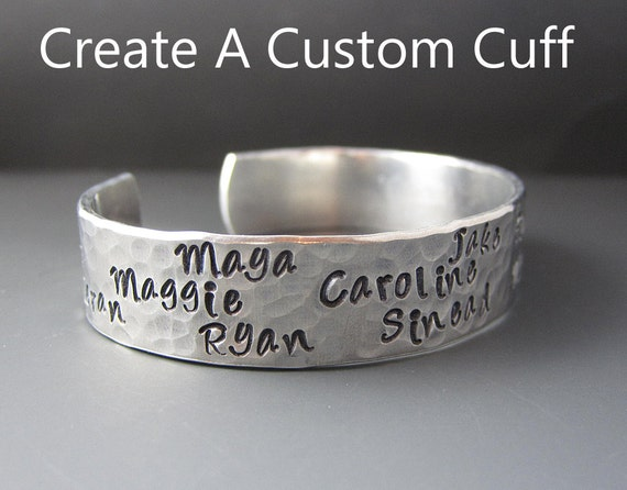 Custom Silver Mother s Cuff Bracelet Personalized