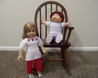 17) Knit two piece Outfit Long Pants Short Sleeve Top ANY 15 or 18 Inch Dolls American Girl  Cabbage Patch  Bitty Baby
