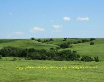 Blue Skies and Green Hills of Kansas - Flint Hills, KS