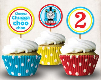 INSTANT DOWNLOAD, Printable Thomas the Train 2nd Birthday Cupcake Toppers, Digital File, Thomas and Friends, 2nd Birthday
