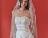 SATIN RIBBON EDGE 1 Tier 40 Inch Fingertip Veil in White or Ivory Tulle, custom handmade bridal wedding veil