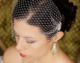 Birdcage Veil with Crystal combs and rhinestone edge, Bandeau Bird cage Veil, Wedding Veil Rhinestones, Bridal Veil - The Merle Veil