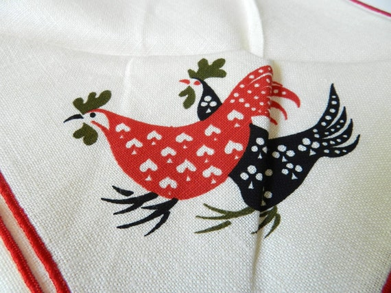 Vintage Red and White Napkins Rooster Theme on One Bundle of 3