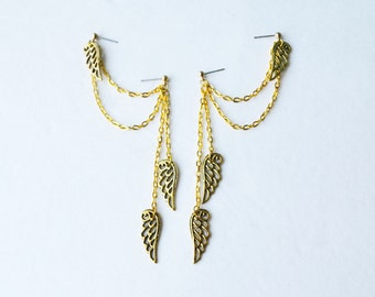 Gold Angel Wings Double Pierce Cartilage Earrings (Pair)