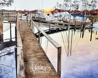 Florida Marina Scene Sunset Dock Number 1-  8 x 10 - matted 11 x 14