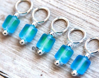Snag Free Stitch Markers in Blue and Green Frosted Glass, Set of 5, Multicolor, Rectangle