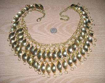 SALE Vintage Necklace Articulated Egyptain Gold Tone Bib 1970's Jewelry 2142