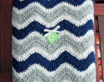 Navy Gray and White Chevron Striped Baby Afghan