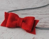 Wool Felt Bow Headband - Dark Red - Newborn, Baby to Adult