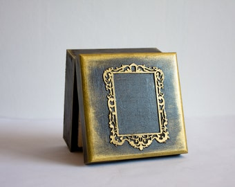 Wedding Box, Framed Photo Box, Chocolate and Dull Gold, Wooden Box, Dark Black