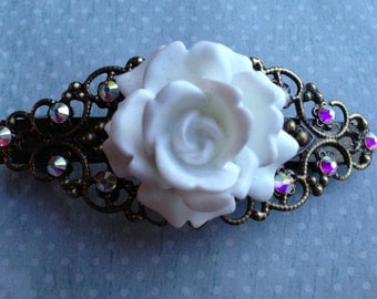 Hair Accessories, Hair Barrette, Rose Clip, Swarovski Crystal Barrette, Hair Barrette
