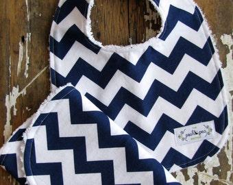 Gift Set Bib & Burp Cloth Set - Navy Blue Chevron Zig Zag - Baby Boy