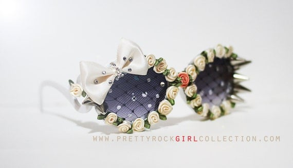 Custom Floral Spike Bow Lace Deco Sunglasses