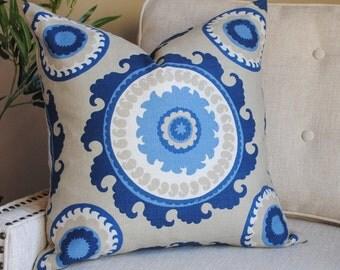 Ready to Ship-Designer Pillow Cover -20x20-Pondarosa-Blue Pillow-Suzani Pillow