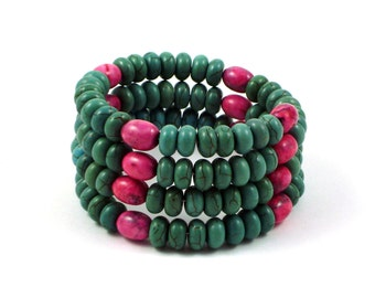 Turquoise and Pink Coiled Bracelet