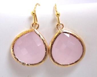 Pink Earrings, Gold Earrings, Glass Earrings, Ice Pink, Soft Pink, Light Pink, Petite, Bridesmaid Earrings, Bridal Jewelry, Bridesmaid Gift