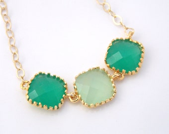 Mint Necklace, Gold Green Necklace, Bridesmaid Jewelry, Bridesmaid Necklace, Gold Filled, Bride Necklace, Bridal Jewelry, Bridesmaid Gifts