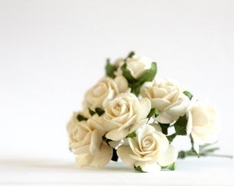 """3/4"""" Ivory Paper Roses (10 blooms)"""